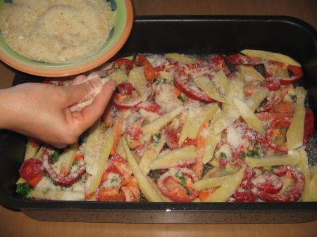 pangrattato e parmigiano su verdure