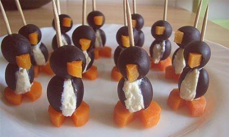 ricette per bambini: pinguini di olive e carote