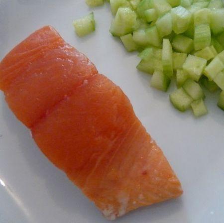 trancio di salmone pulito