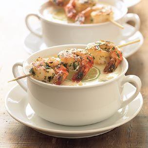 zuppa di mais e gamberoni
