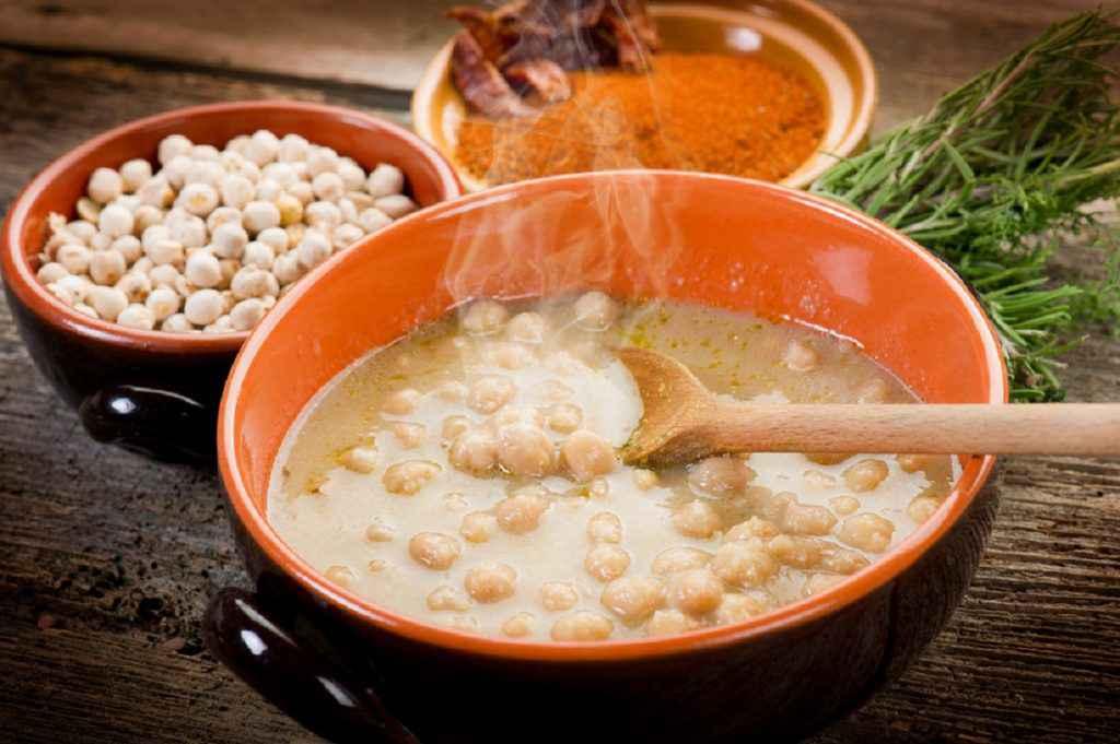 zuppa di ceci, menu dietetico