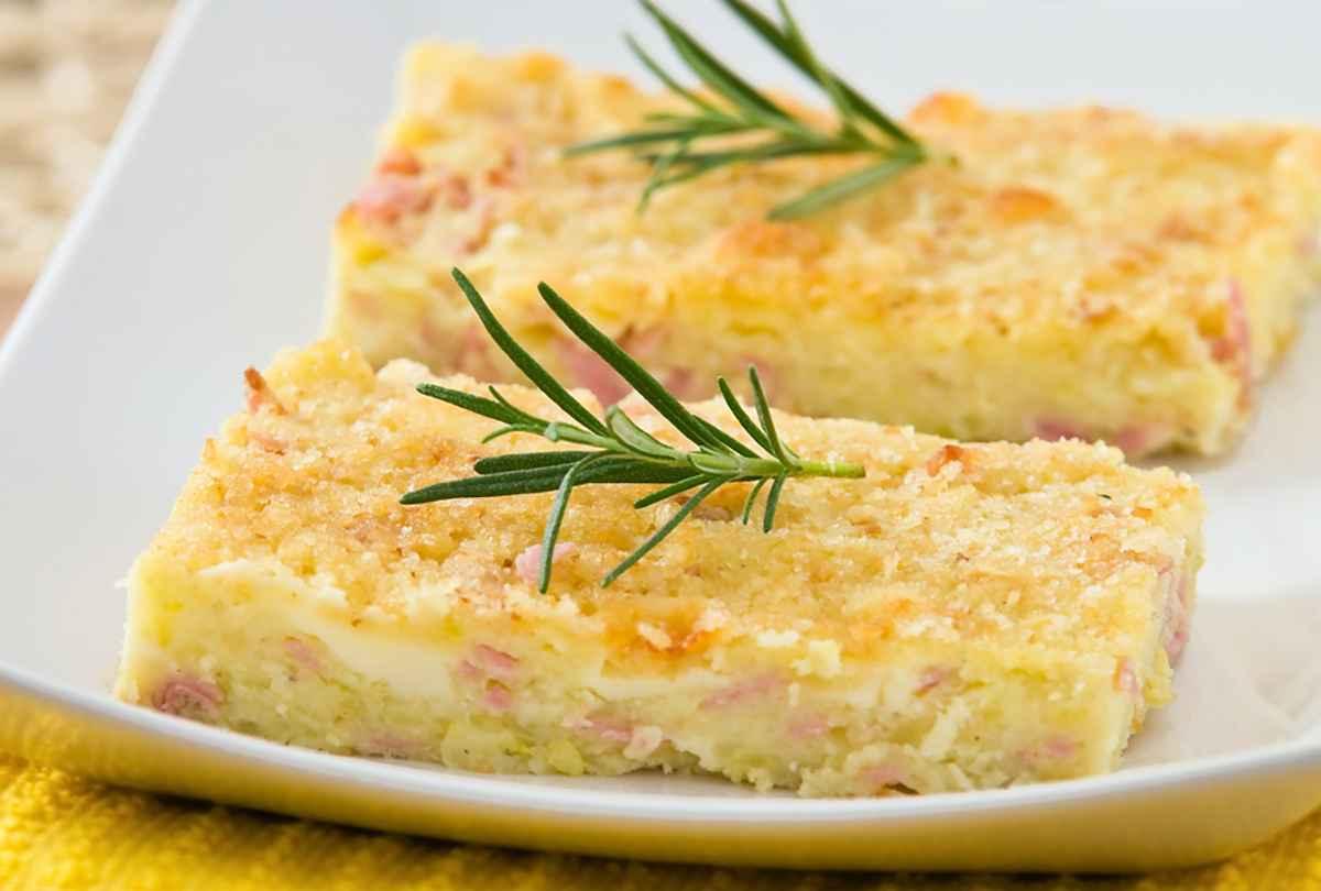 Gateau di patate con formaggio e prosciutto cotto
