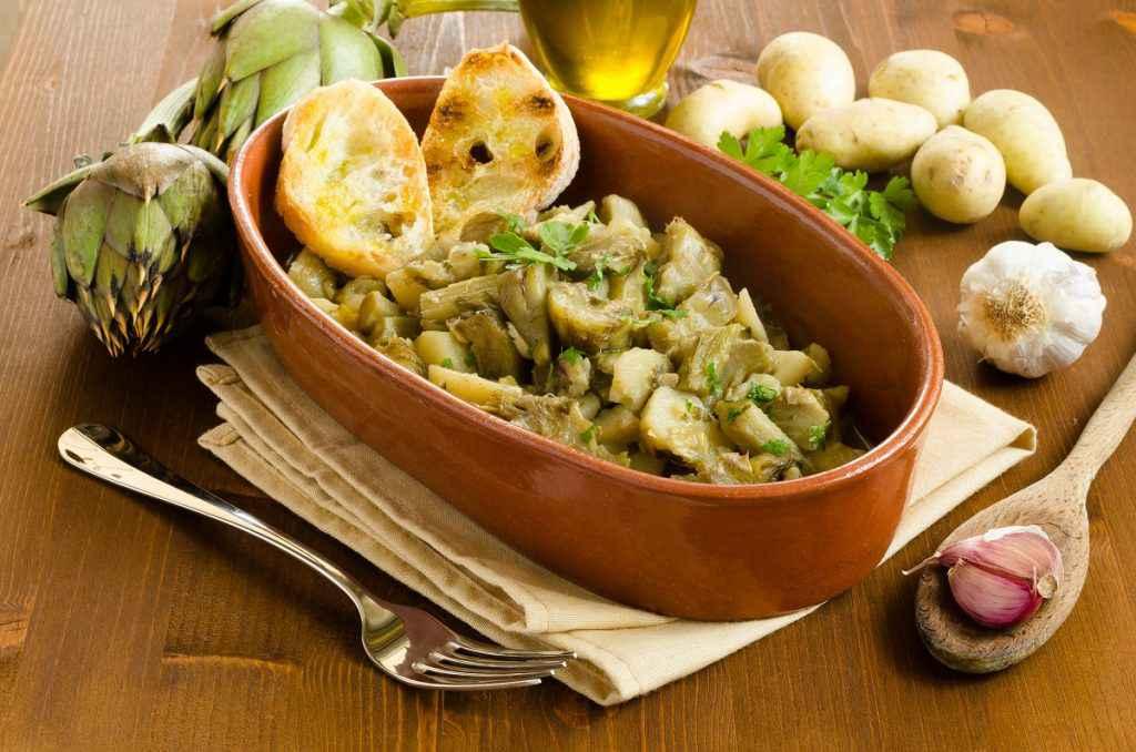 tiella di carciofi e patate con prezzemolo