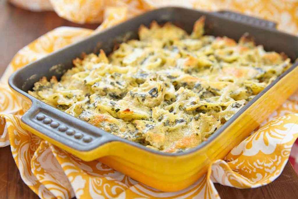 Pasta con carciofi al forno
