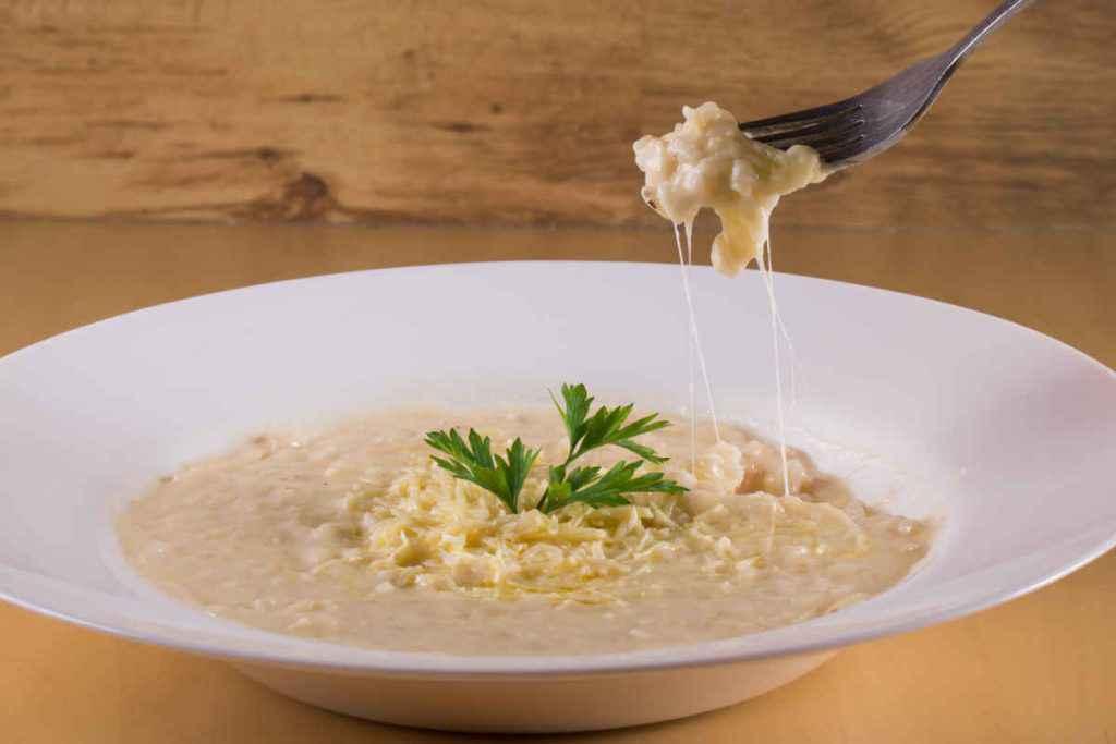 piatto di risotto con crema di funghi