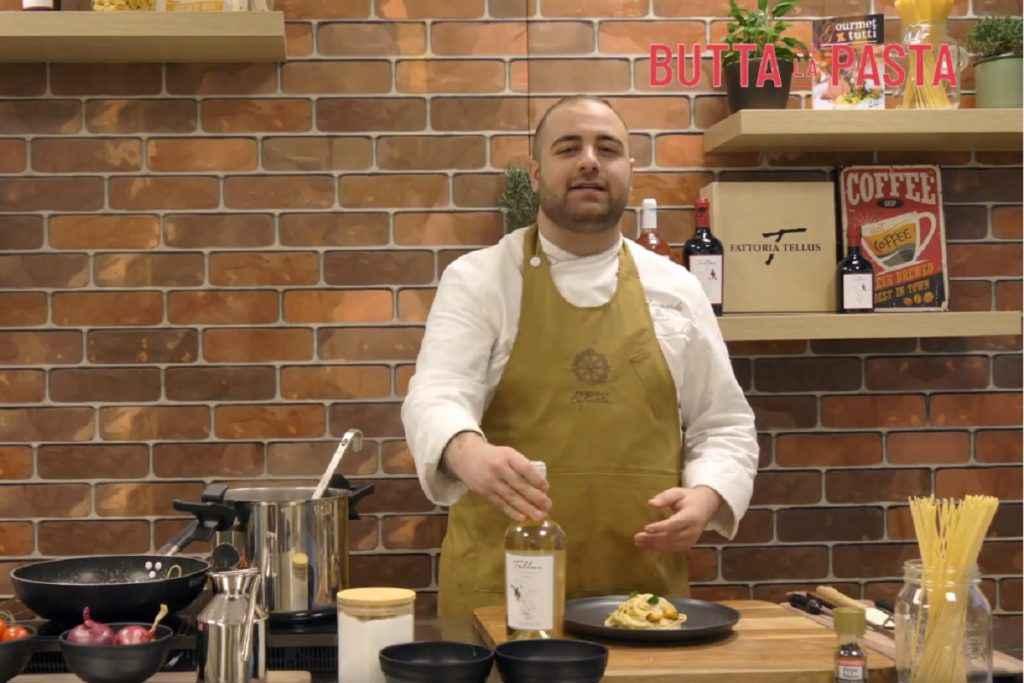cacio e pepe di chef perisse con vino tellus cotarella