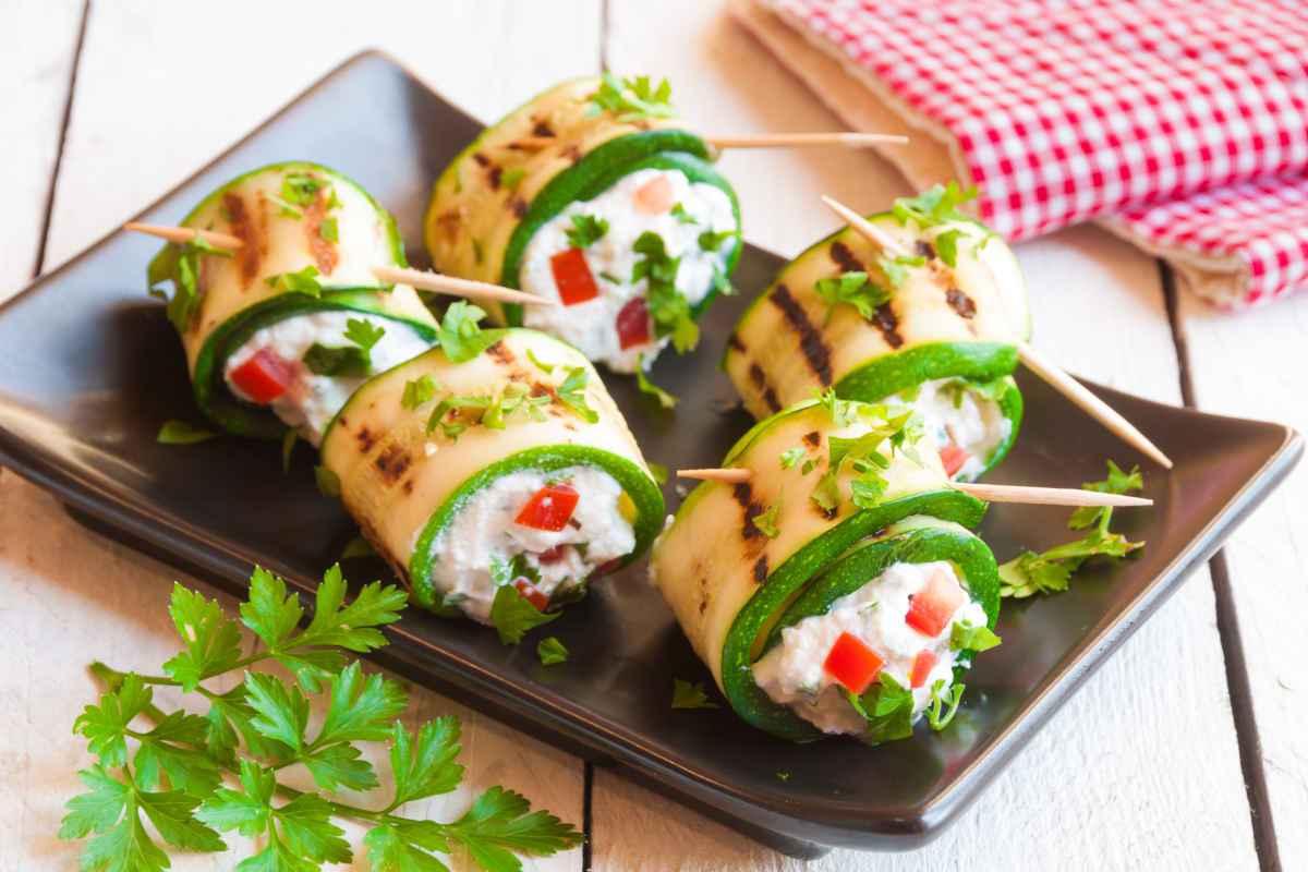involtini di zucchine per la cena vegetariana