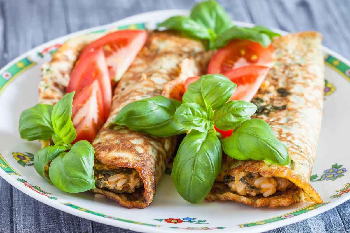 crespelle vegetariane farcite con verdure