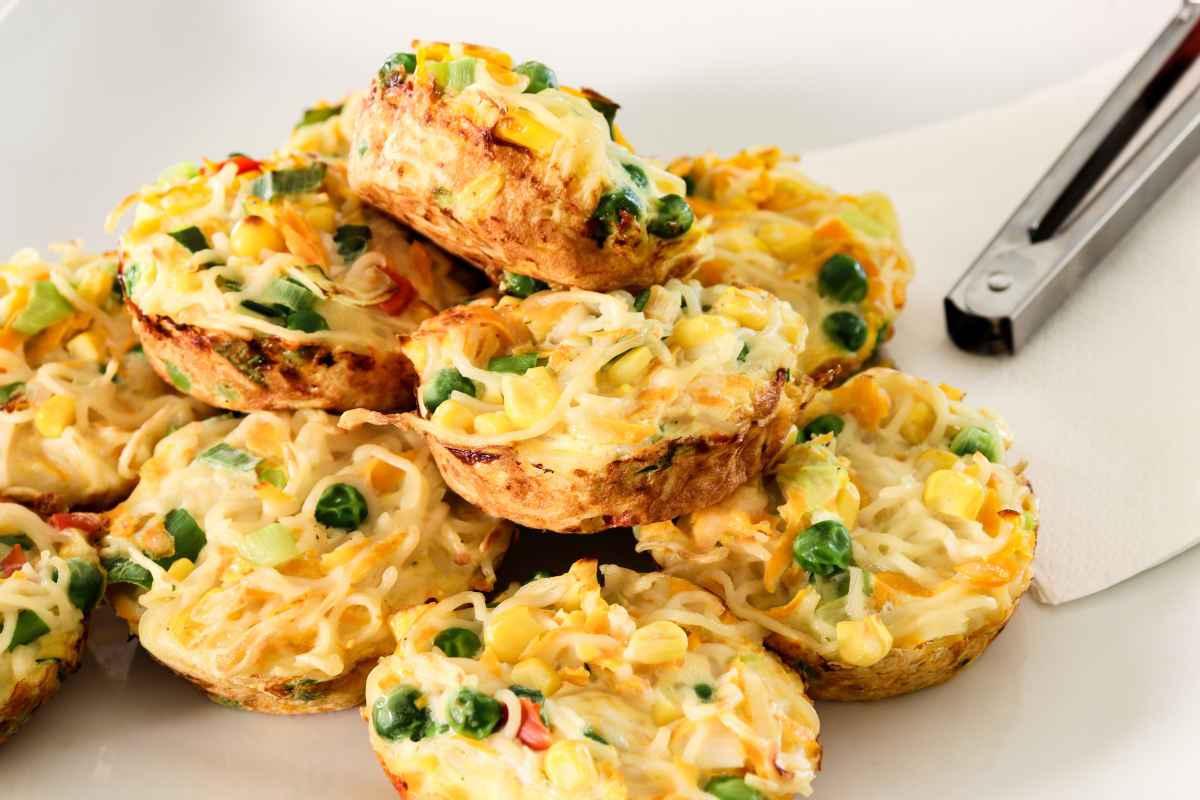 frittatine di pasta con piselli