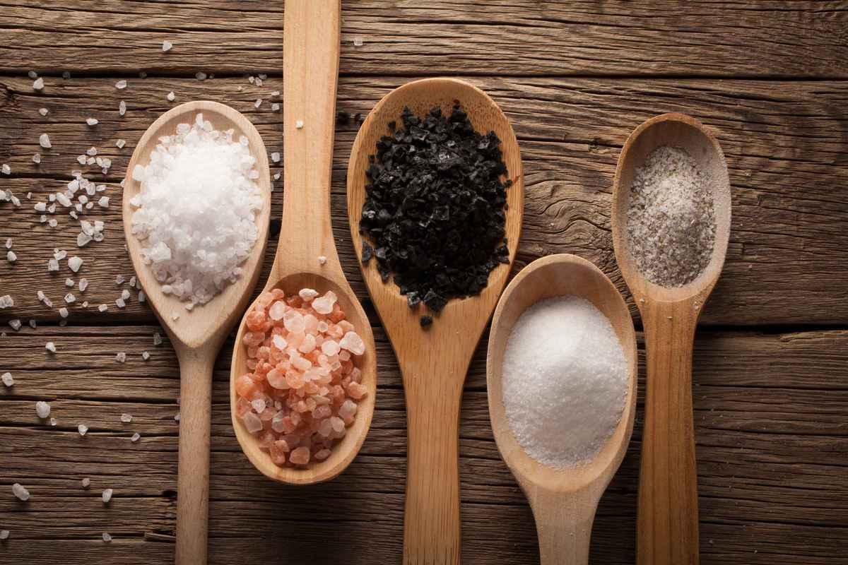 cucchiai con tipi di sale da cucina