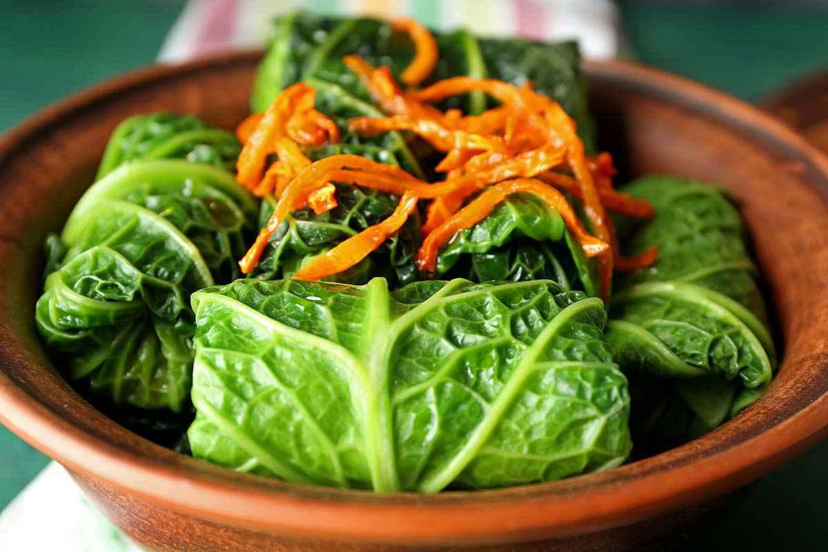Involtino di verza stufato con carote