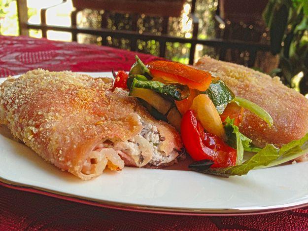 Involtini di prosciutto con ricotta e verdure