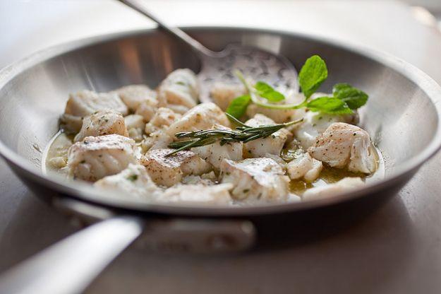 Halibut all'aglio