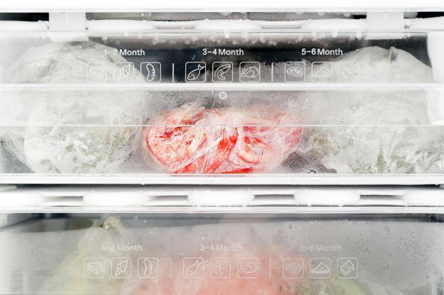 freezer with frozen food