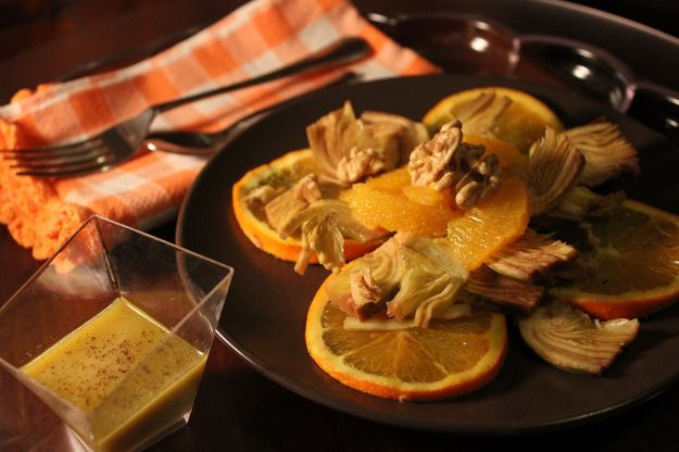 Insalata tiepida di carciofi e arance