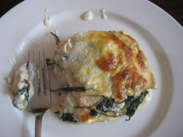 Lasagne al forno con spinaci e salmone affumicato
