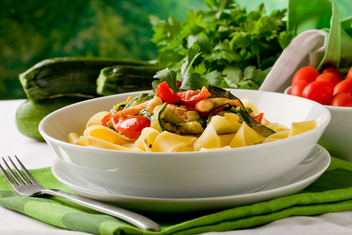 Pappardelle in bianco con verdure