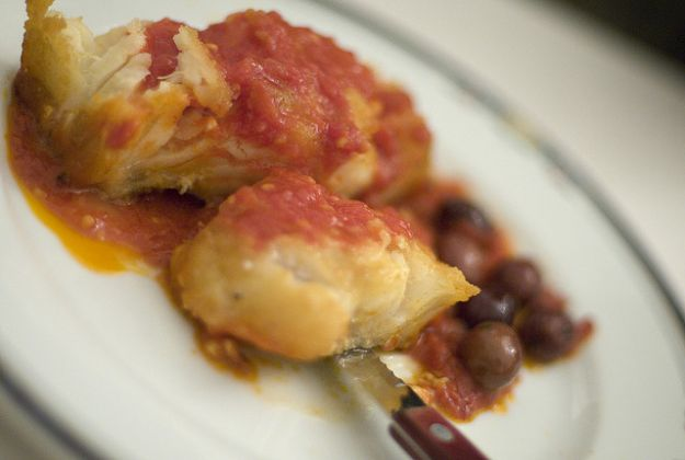 baccala alla napoletana con pomodoro e olive