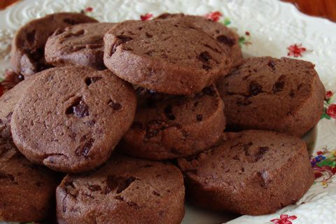 I biscotti al cioccolato preparati col cioccolato