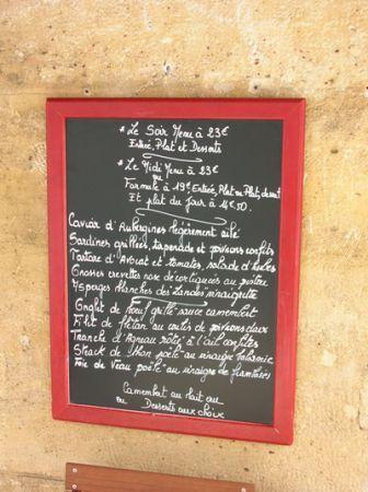 Il menù scritto sulla lavagna