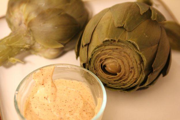 carciofi con maionese al basilico