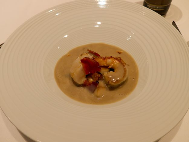 Cep and artichoke velouté, sautéed scallop from Miyagi and shrim