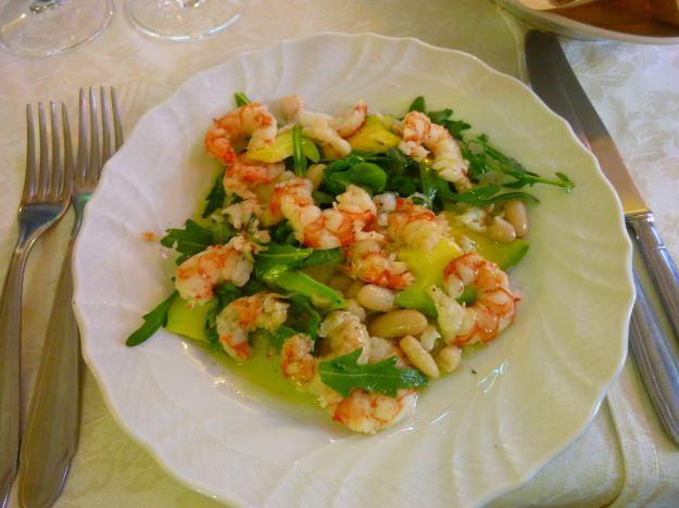 insalata con gamberetti e rucola