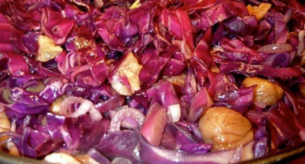insalata di castagne e cavolo rosso