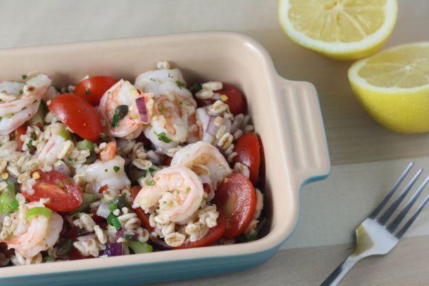 insalata di farro, orzo e frutti di mare