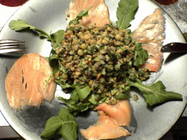 insalata di lenticchie al salmone