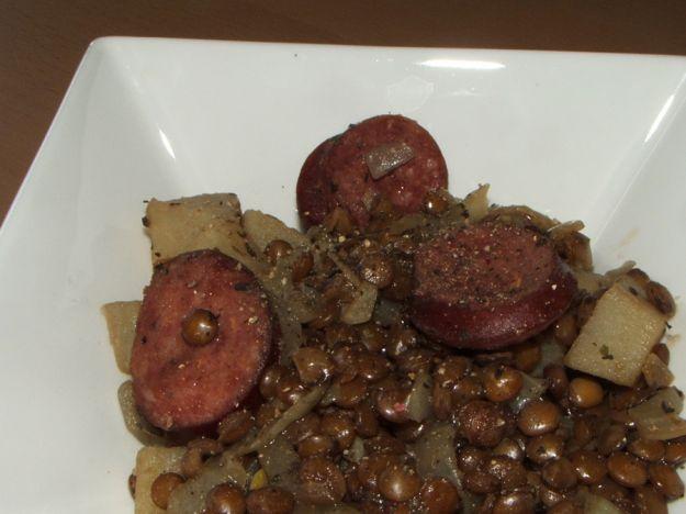 lenticchie con salsiccia e patate