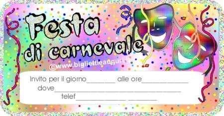 Biglietto invito Carnevale