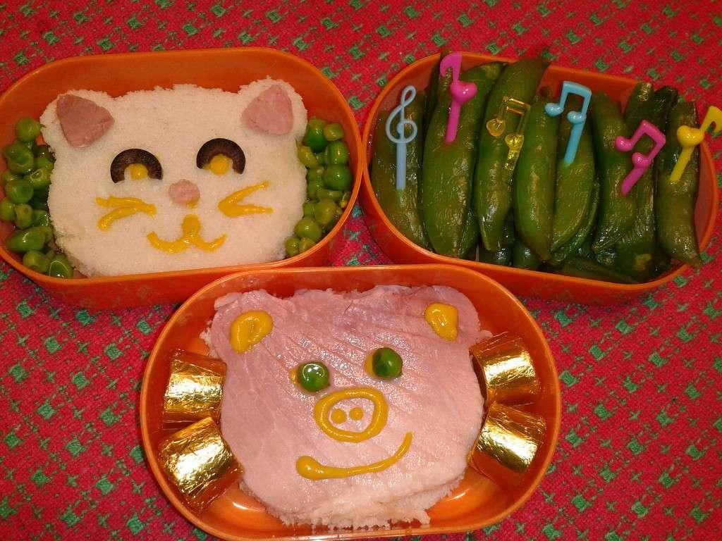 Salmone e riso a forma di gatto come schiscia