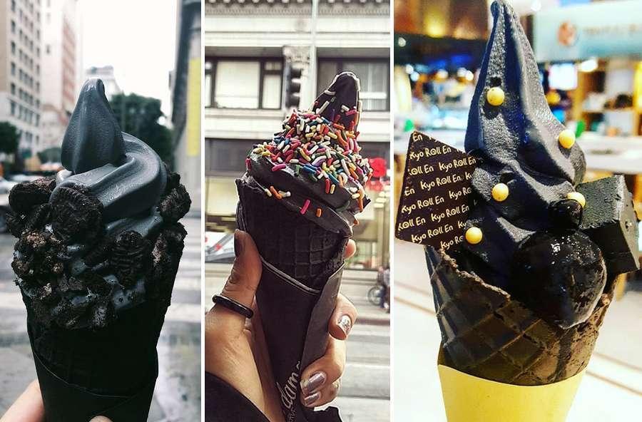 Il gelato nero a base di carbone di cocco o di mandorla