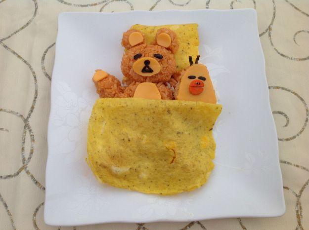 orsetto di riso con copertina di frittata 6