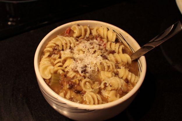 pasta con lenticchie e fiocchi d'avena