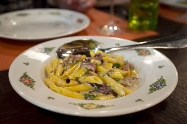 pasta radicchio e pancetta
