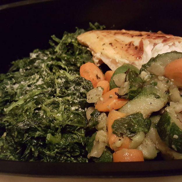 pesce persico e spinaci al forno