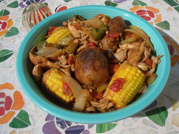 petto di pollo ai peperoni con pannocchie