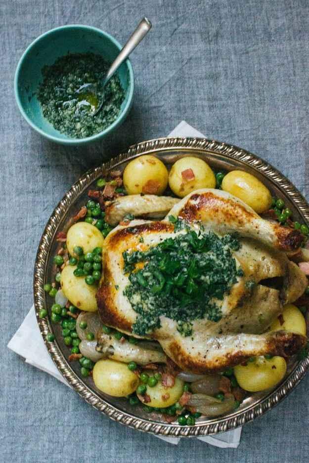 pollo con patate e piselli