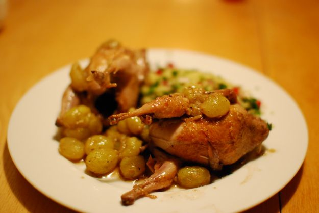 quail with grapes and couscous