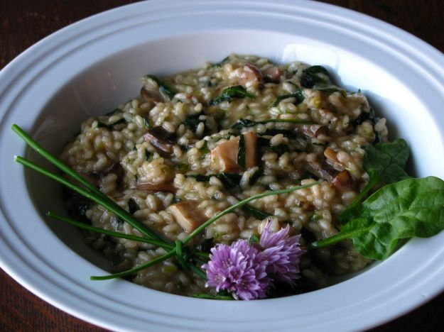 risotto con funghi e spinaci