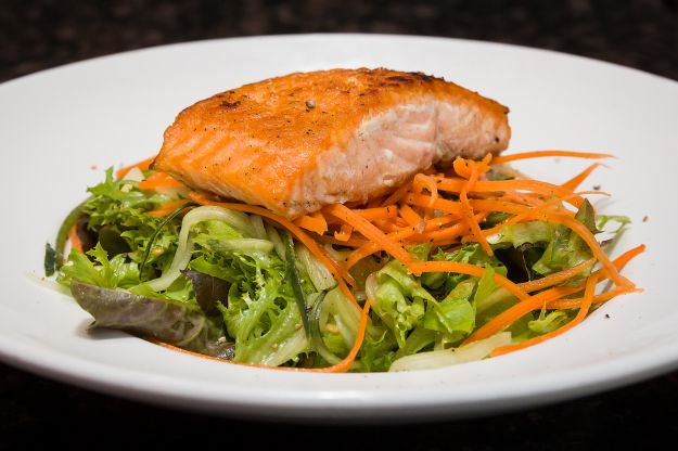 Summer Greens Salad with Pan seared Salmon