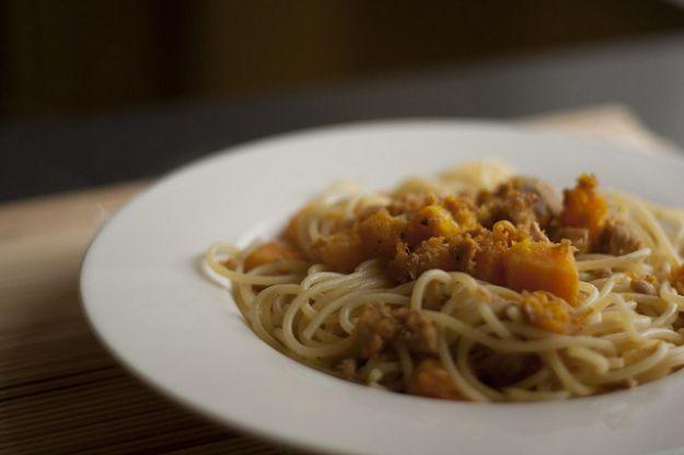 spaghetti zucca e tonno