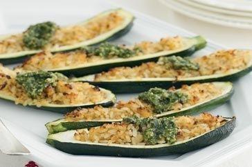 Ricette per le zucchine ripiene con pasta e riso