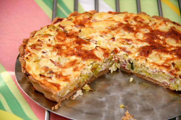 Torta salata ai porri e speck