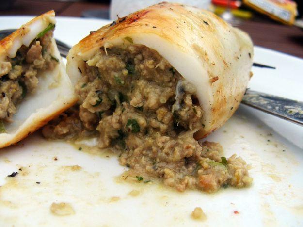 totani e gamberetti con zucchine tenere